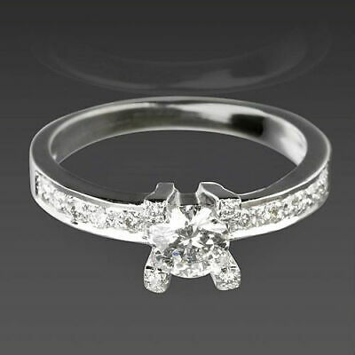 Vs1 Solitaire And Accents Diamond Ring 0.9 Carat Flawless Round 18K White Gold