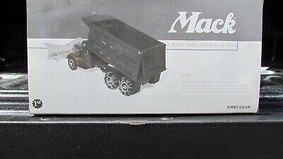 Mack L Model Dump Truck With Snow Plow & Chains Diecast Tractor