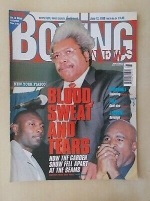 BOXING NEWS 12th JUNE 1998 EVANDER HOLYFIELD v HENRY AKINWANDE FIGHT CANCELLED