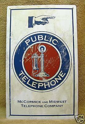 Public Telephone Company McCormick Midwest Phone Tin Metal Sign NEW Free Ship