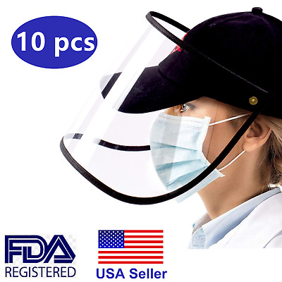 10 Packs Safety Full Face Shield Reusable Washable Protection Cover Face Mask