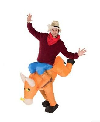 Inflatable Bull Riding Funny Novelty Fancy Dress Costume Texas Cowboy
