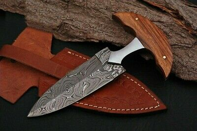 Custom handmade Damascus push Dagger Knife with Leather Sheath