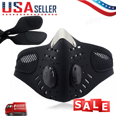 USA SELLER Cycling Air Purifying Face Mask Cover Haze Washable Reusable Filter~