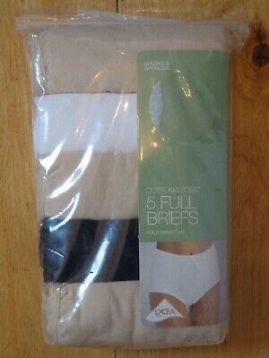 BNWT LADIES M/&S LINGERIE 5 PACK WHITE COTTON//LYCRA FULL BRIEF KNICKERS SIZE 24