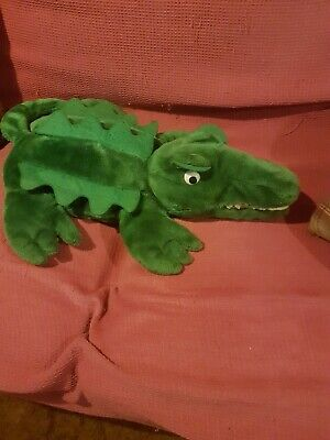 Cute Plush Dinosaur/ Crocodile  1 Litre Hot Water Bottle and Cover, Green.