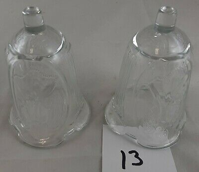 Clear Pressed Angel  glass Votive Cups Lot of  2 Homco Home Interiors
