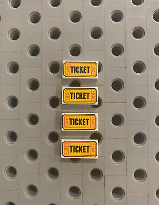 Lego 1x2  Ticket Flat Tile Accessory New Lot Of 4