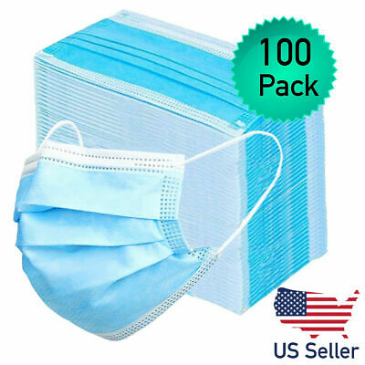 100pk Disposable Face Mask Adult Protective 3 Layer Ear Loop Mouth Cover Filter