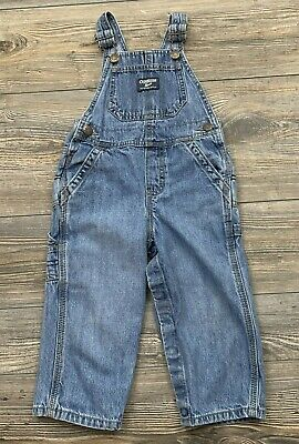 Vintage Oshkosh Bib Overalls Boys Toddler/Infant 24 Months Blue Snap Crotch