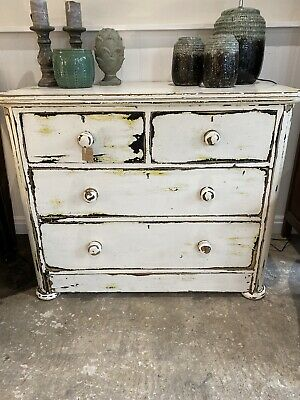 Large Pine Set Of Chippy Painted Cream Drawers 2over 2