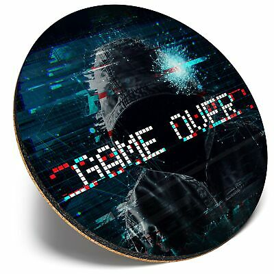 Square Single Coaster Distorted Game Over Gaming Sign  #14766