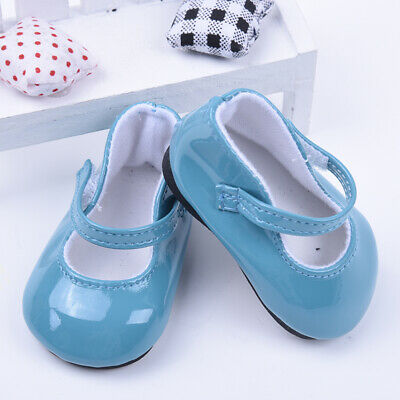Handmade Blue Leather Boots Shoes For 18inch Doll Kids Toy Party C1M6