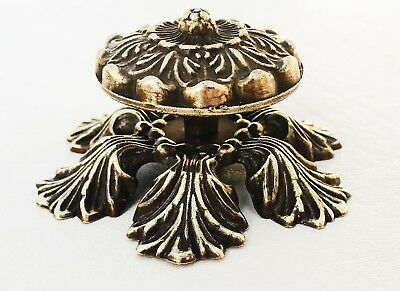 Flower Brass MCM Hollywood Regency Drawer Pull Cabinet Knob French Provincial