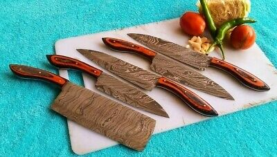 Damascus steel Chef Set 5 Pics Sharp Edge Rosswood handle,Leather cover