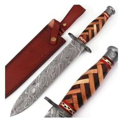 Handmade Damascus Steel Hunting Knife Beautiful Bowei with Leather Sheath