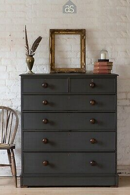 Extra Large Tall Victorian Chest of 6 Drawers in Dark Grey (97)