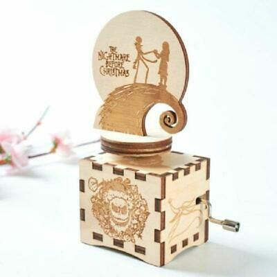 Carved Wooden Hand Crank Music Box Halloween Birthday Gift Party Casket Decor