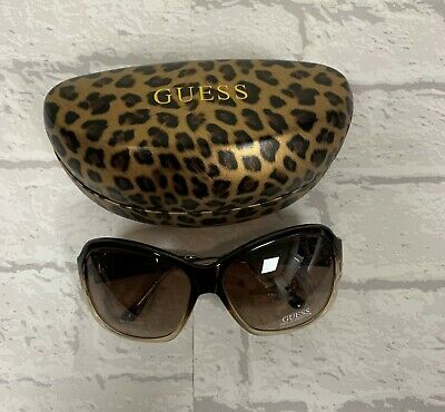 Brand New Ladies Guess Designer Sunglasses Brown Frame With Leopard Print Case