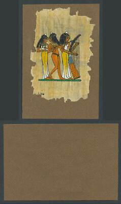Egypt Genuine Hand Painted Papyrus Old Card Novelty Egyptian Art, Musicians Harp