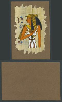 Egypt Genuine Hand Painted Papyrus on Old Card Novelty Egyptian Art, Bird, Queen