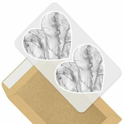 2 x Heart Stickers 7.5 cm Grey White Gold Marble Effect Pattern  #24432
