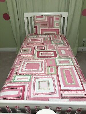Pottery Barn Kids Katie Quilted Euro Sham Pink Ribbons Green White Trim NICE