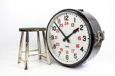"""Vintage Industrial 24"""" Double Sided Gents of Leicester Factory Railway Clock"""
