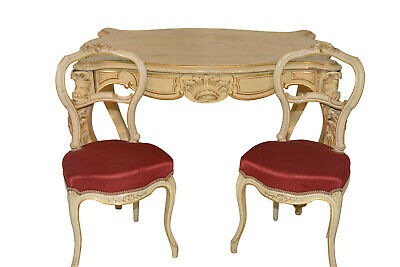 Antique French Painted Writing Table & Two Chairs, Turn of Century