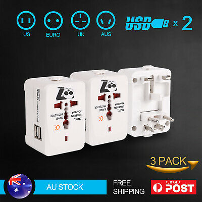 3X Travel Adapter Universal 2 USB International Charger Converter Plug all in 1