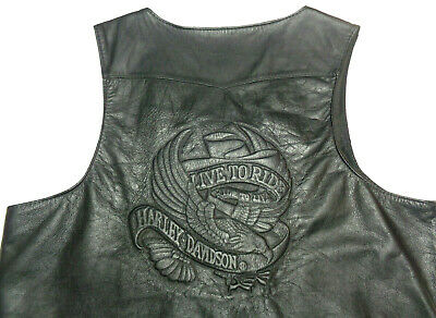 Harley Davidson Lightweight Leather Vest  Made Usa  Live To Ride  Xl - 2Xl    81