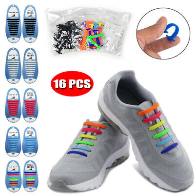 Coloured Rubber Silicone Easy No Tie Shoelaces Adult & Child Trainer Shoe Laces