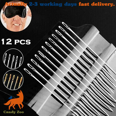 12Pcs Self-Threading Sewing Needles Set Assorted Sizes DIY Thread Stitching Pins