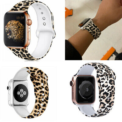 For Apple Watch 6 5 4 3 2 1 Band Strap 38mm 42mm 40mm 44mm Soft Silicone Leopard