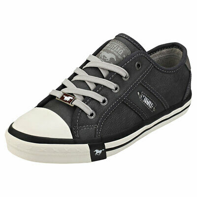 Mustang Womens Ladies Low Top 5 Eyelet Lace Up Shell Toe Pumps Trainers Sneaker