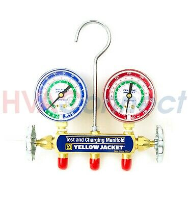 """New Yellow Jacket 41212 Refrigerant Manifold Only with 2-1/2"""" Gauge psi I-5719"""