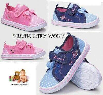 SALE Girls canvas trainers shoes Real Leather Insoles Toddler 8-12 UK Sandals