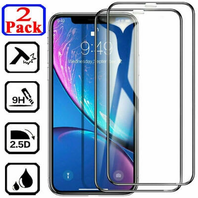 2Pcs FULL COVER Tempered Glass Screen Protector For iPhone 11 Pro X XR XS Max