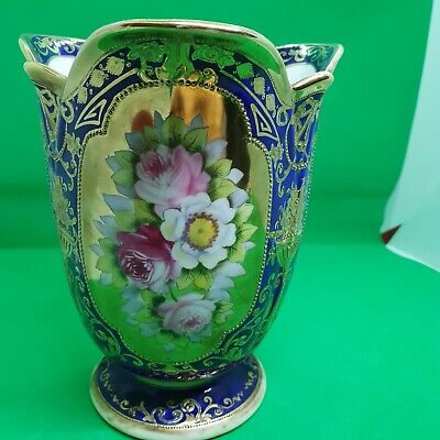 Stunning Hand Painted And Heavy Gilded Noritake Three Sided Vase