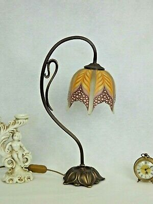 Lovely French Vintage Bronze Effect Metal Table Lamp Decorative Glass Shade 2086