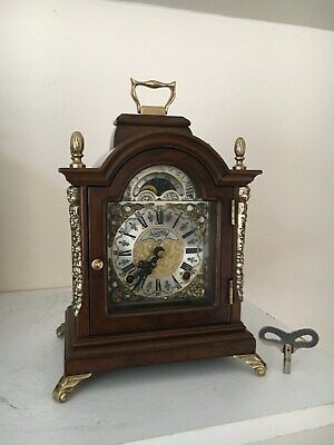 Dutch Warmink/Wuba Bracket Mantel Shelf  Clock Moon phase,2 Bells Chimes/Silent