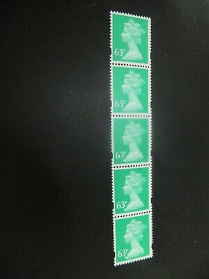 GB. Specialised Machin. SG U452 Coil strip of 5. MNH.