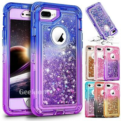 For iPhone 6 7 8 Plus Shockproof Protective Liquid Glitter Defender Case Cover