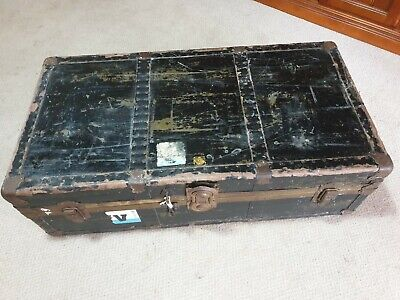 Vintage Trunk Suitcase. Black with brass fittings. Still has original...