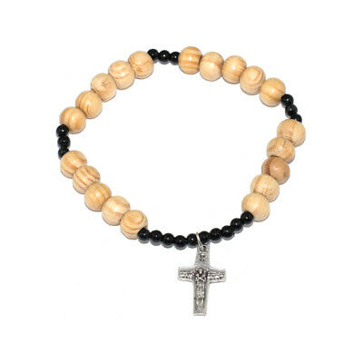 Rosary Wooden Black Bracelet Protection With Metal Cross  Браслет С Крестом