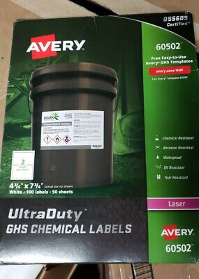 "Avery® UltraDuty™ GHS Chemical Labels, AVE60502, 4 3/4"" x 7 3/4"", White, Box Of"
