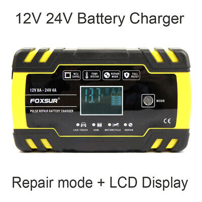 Professional Digital LCD Automatic Car Motorcycle Battery Charger UK Plug 12/24V