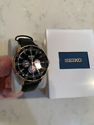 Seiko Mens Solar Chronograph Rose Gold