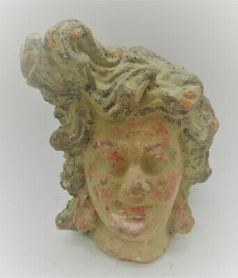Rare Ancient Greek Terracotta Head Statue Fragment Female Head Circa 200 Bc