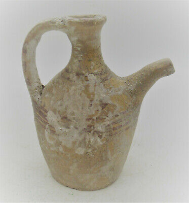 Scarce Ancient Mycenaean Terracotta Decorated Wine Jug Circa 1500Bce